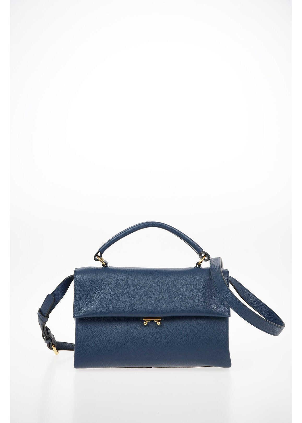 Marni Leather Shoulder Bag BLUE imagine b-mall.ro