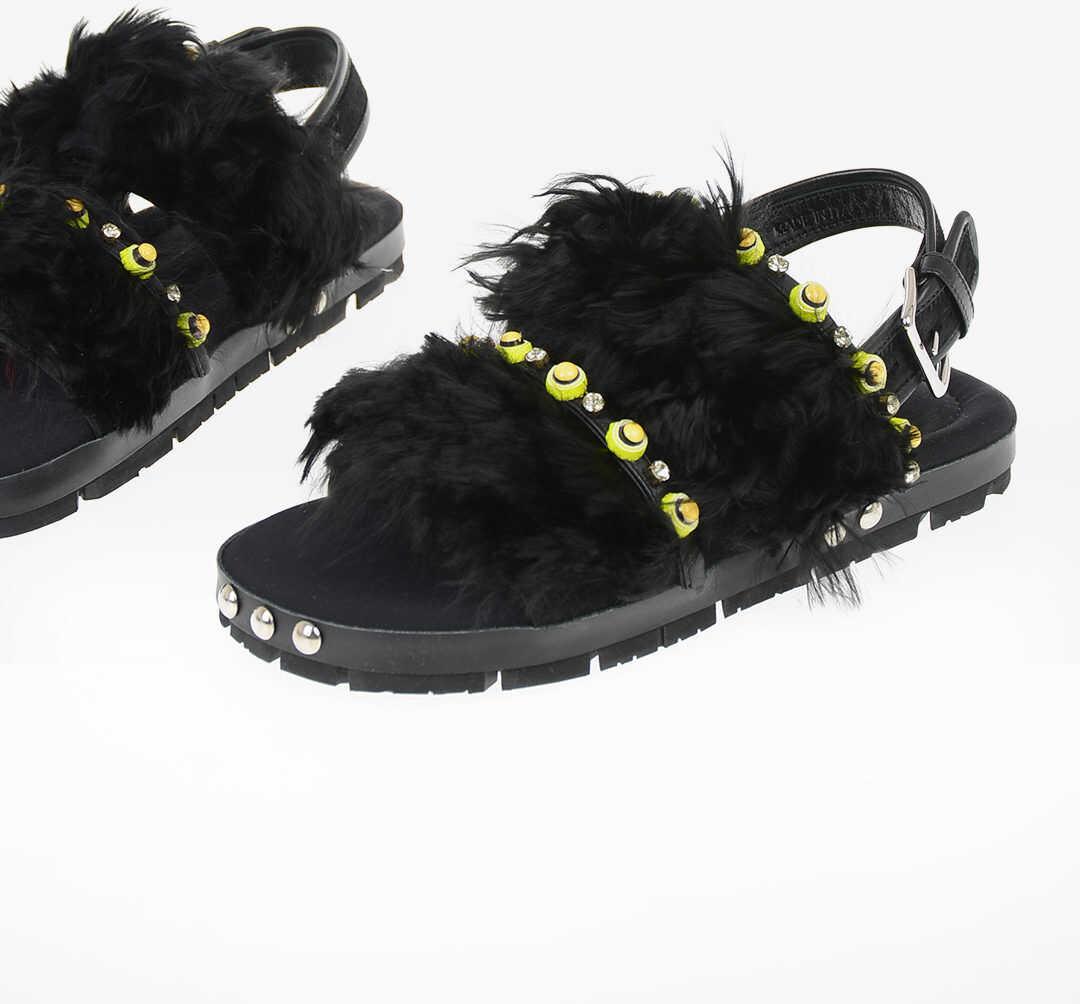 Marni Leather Ankle Strap Sandals BLACK imagine b-mall.ro