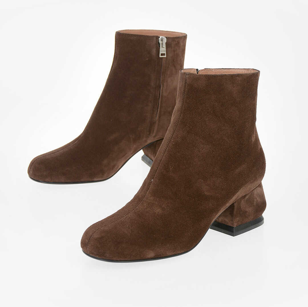 Marni 5cm Suede Leather Ankle Boots BROWN imagine b-mall.ro