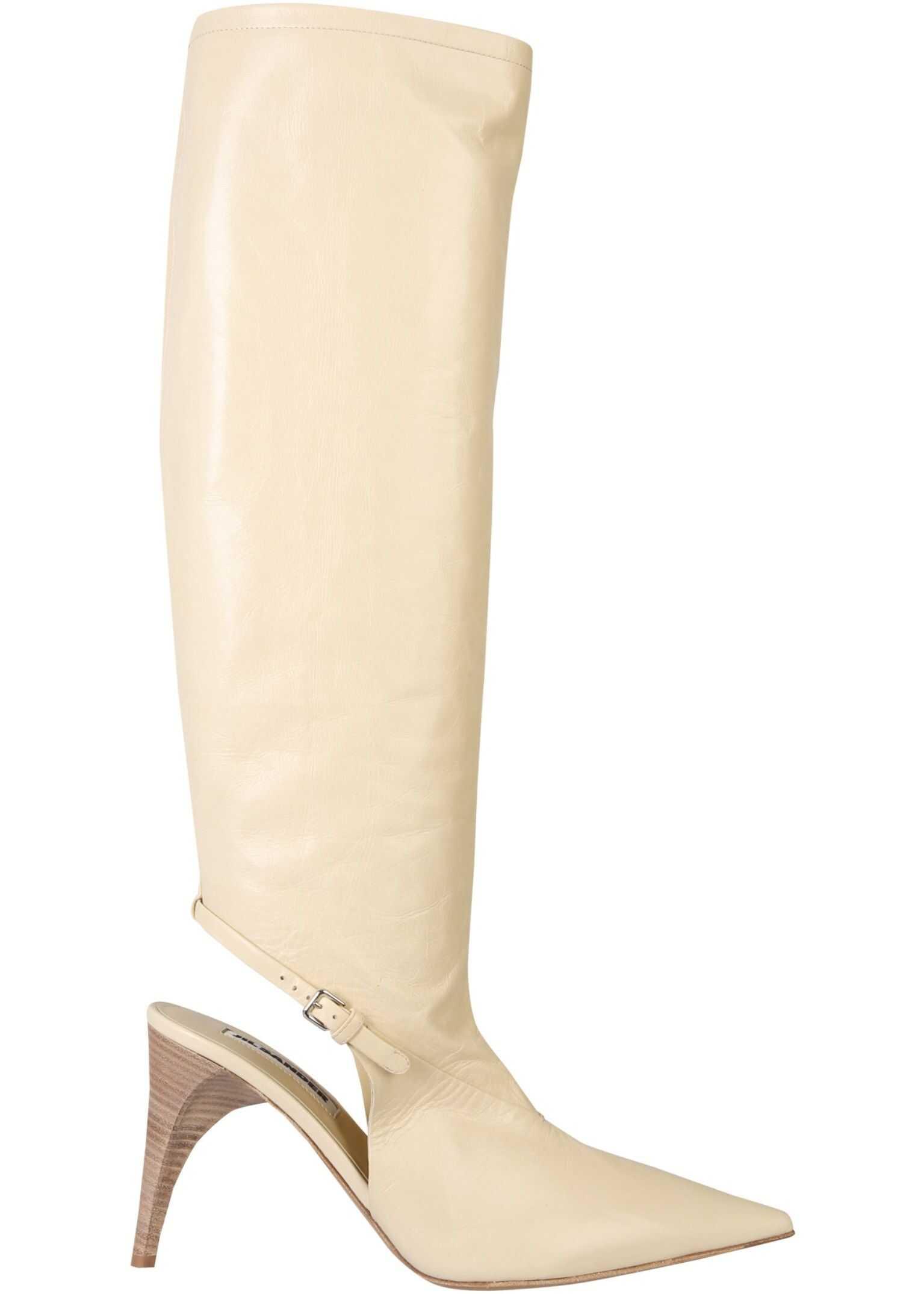 Jil Sander High Sling Back Boots JS35124A_12011103 WHITE imagine b-mall.ro