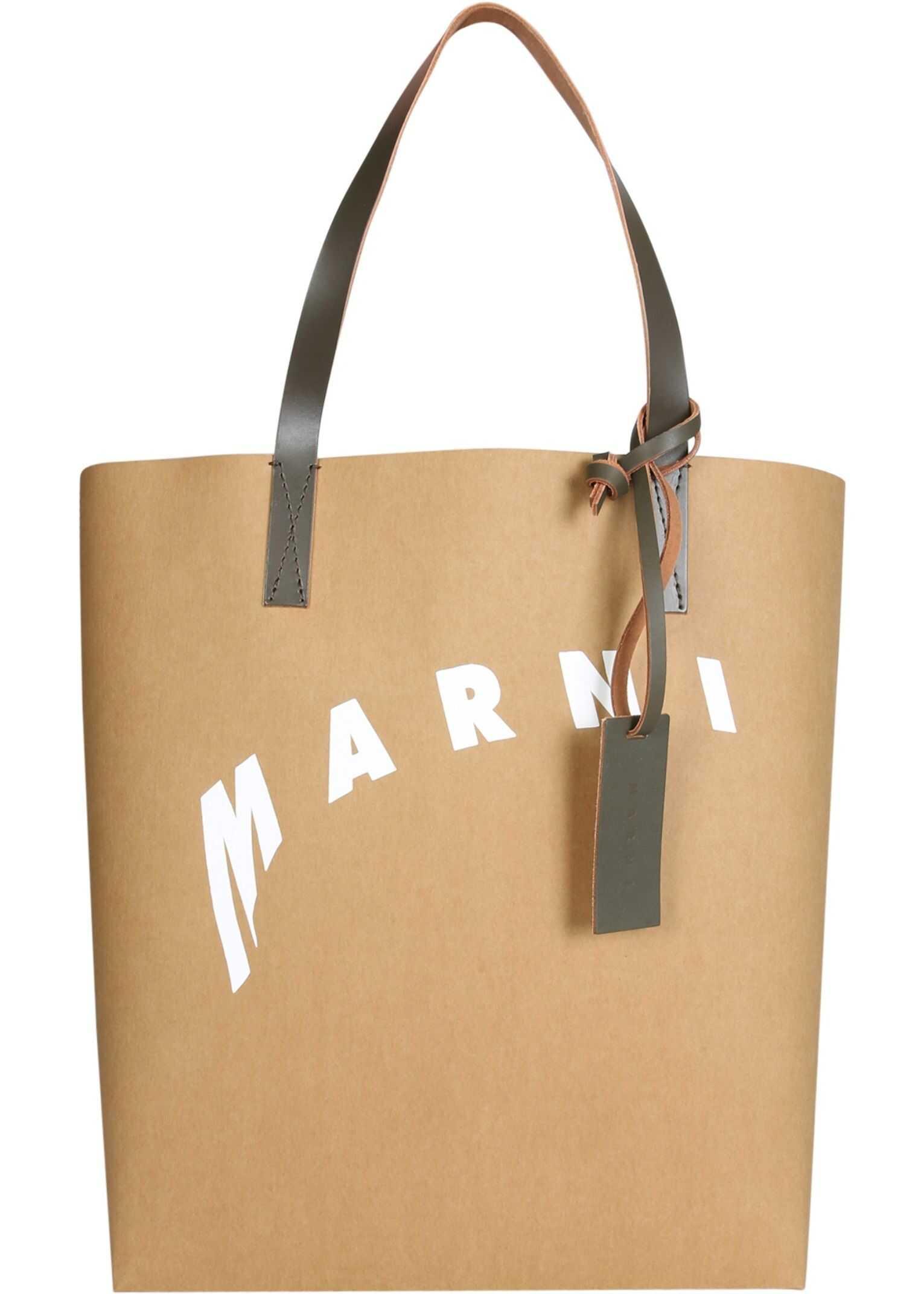 Marni Shopping Bag With Distorted Logo SHMQ0000A8_P3951Z2M94 NUDE imagine b-mall.ro