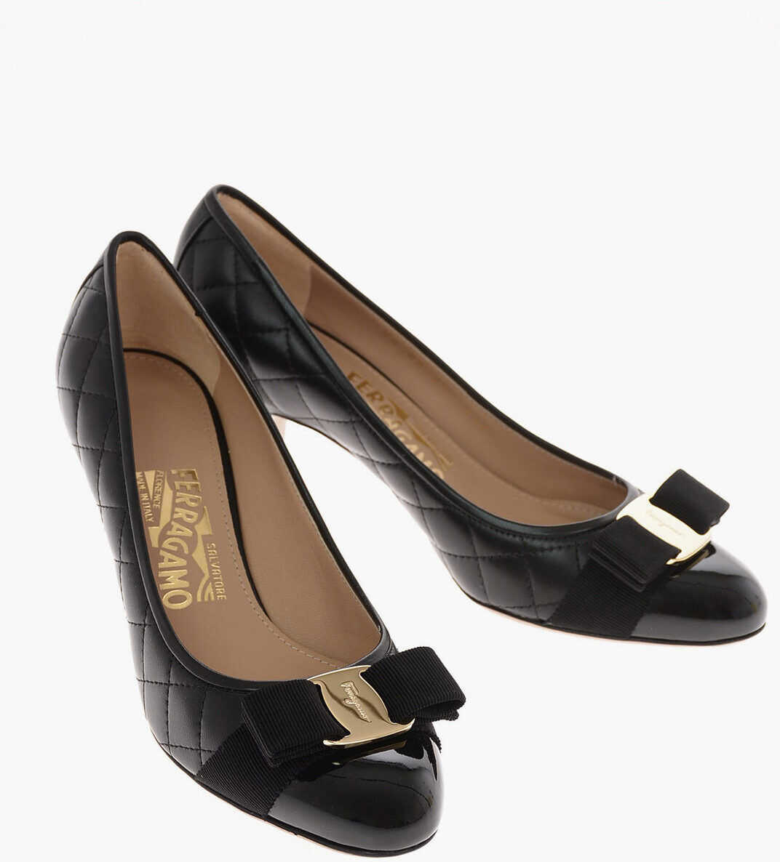Salvatore Ferragamo 8 cm leather CARLA 70 Pumps BLACK imagine b-mall.ro