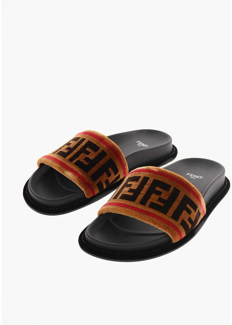 Fendi Velvet Slides with Logo BLACK imagine b-mall.ro