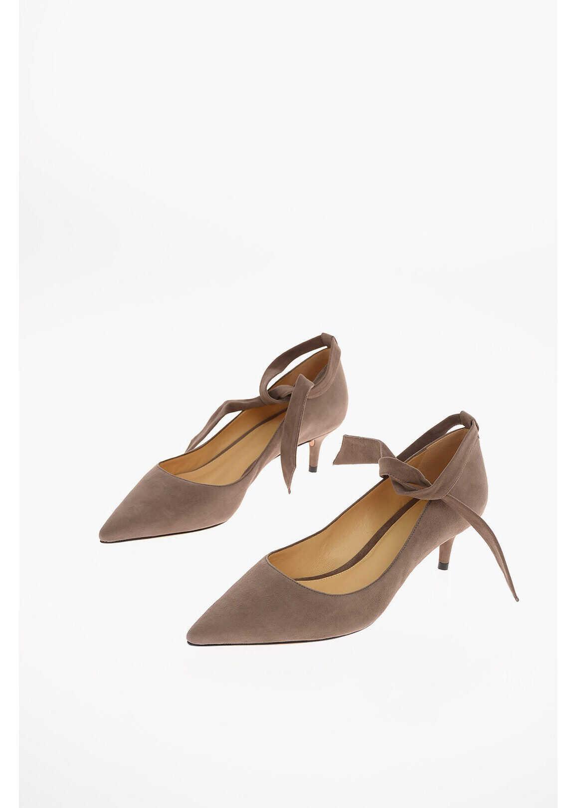Alexandre Birman 6cm Suede leather CLARITA Ankle-strap pumps GRAY imagine b-mall.ro