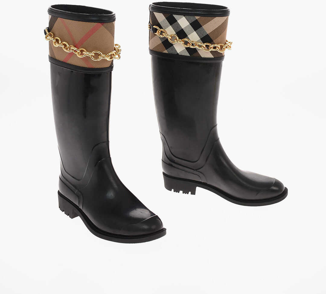 Burberry Rubber Wellington boots with Chain BLACK imagine b-mall.ro