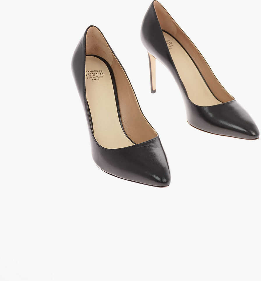 Francesco Russo 9cm leather Stiletto Heel Pumps BLACK imagine b-mall.ro