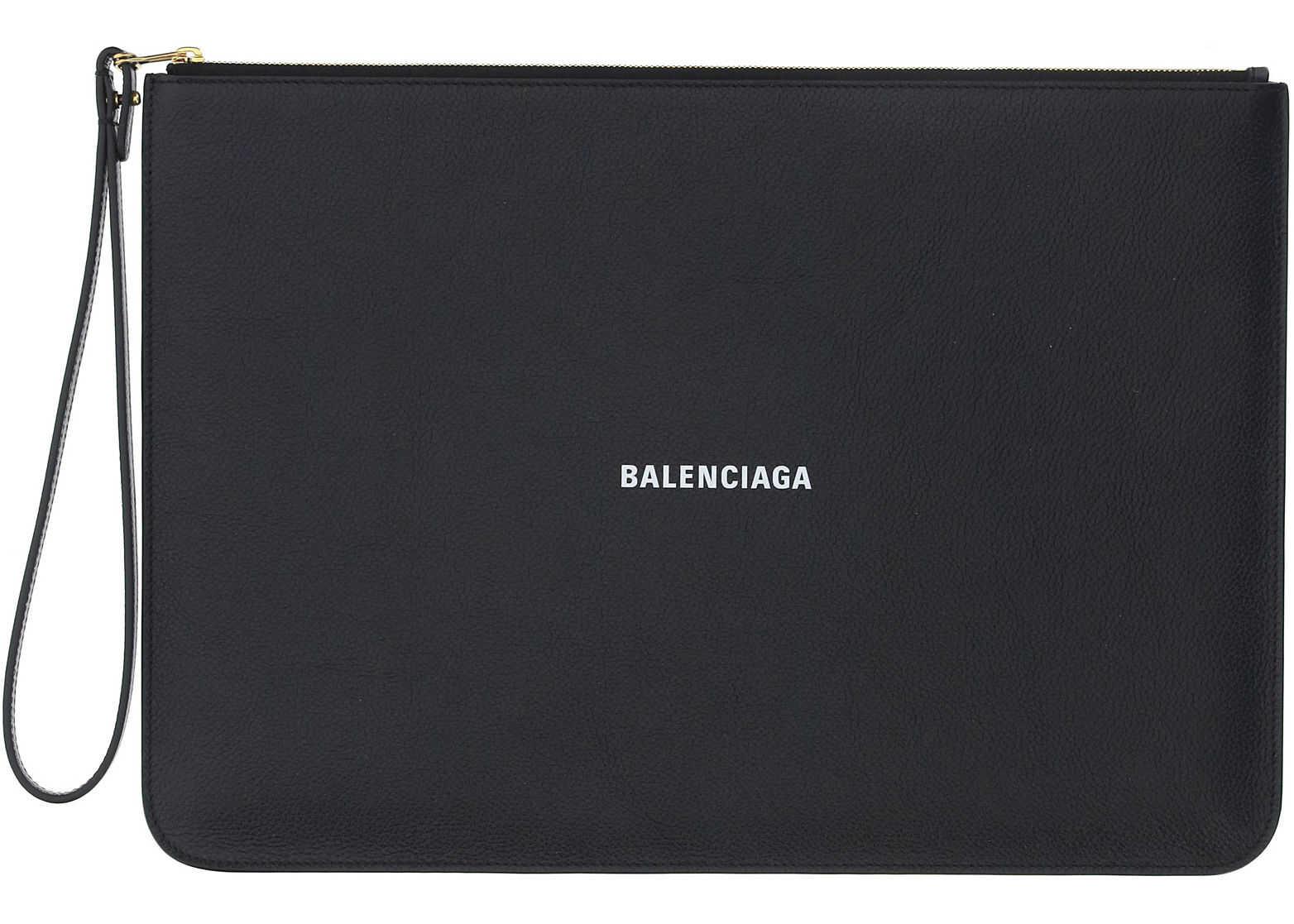 Balenciaga Pouch 6556041IZIM BLACK/ L WHITE imagine b-mall.ro