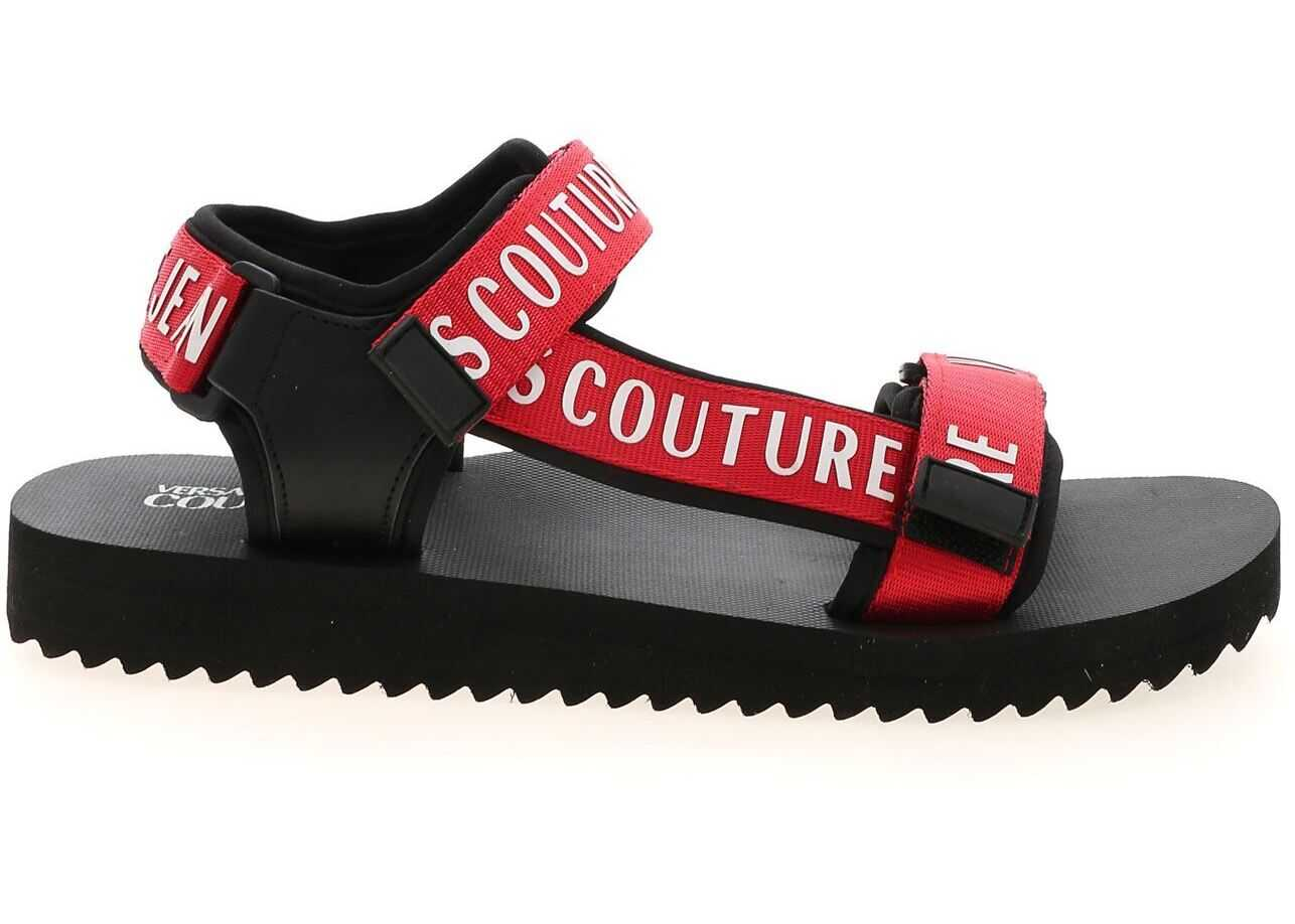 Versace Jeans Couture Branded Velcro Sandals In Black E0YWASY171937500 Black imagine b-mall.ro