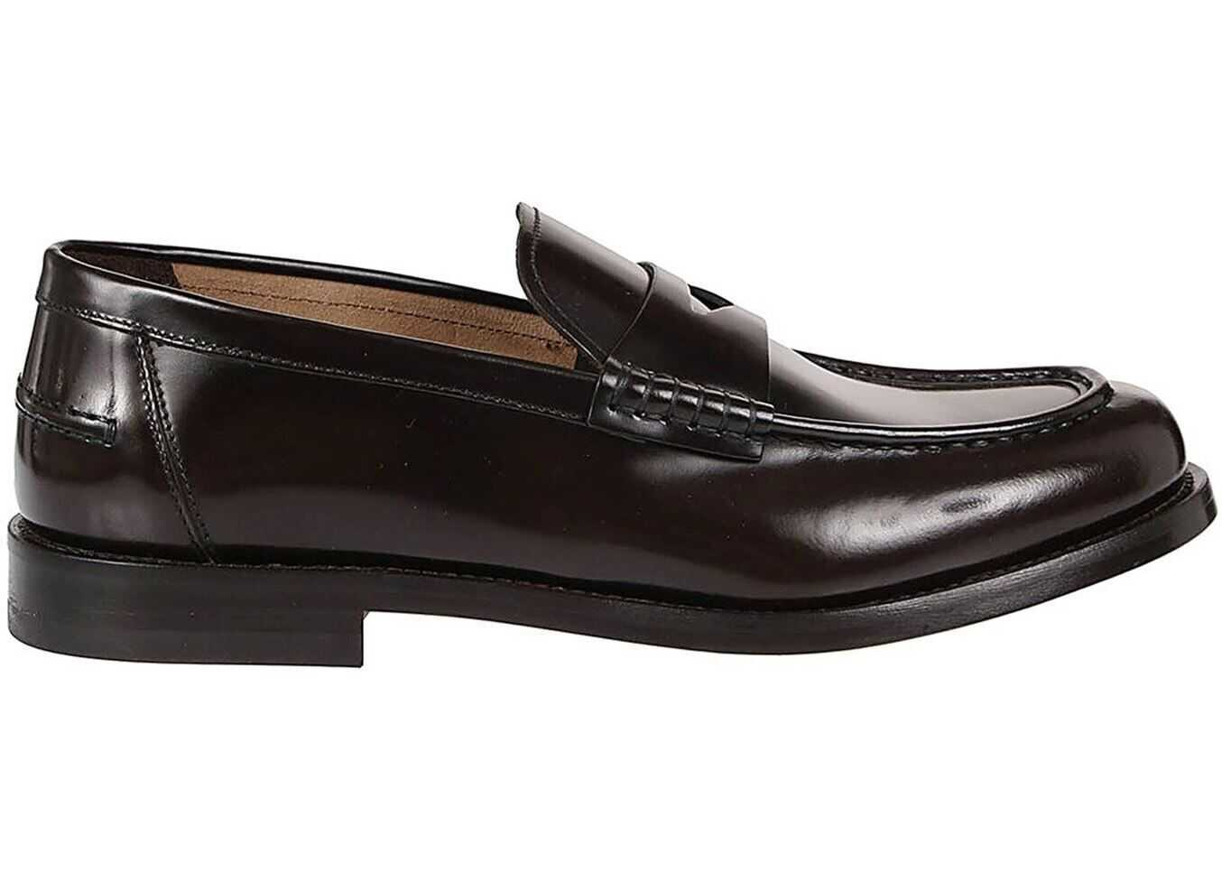 Doucal's Classic Brushed Leather Loafers DU2854GRANUY007TM02 Brown imagine b-mall.ro