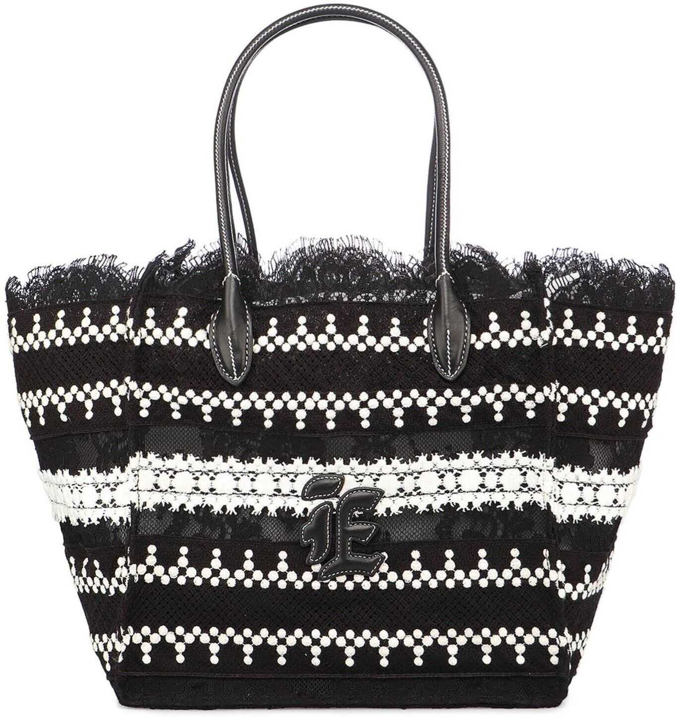 Ermanno Scervino Lace Shopping Bag In Black D383S912OZYB3842 Black imagine b-mall.ro