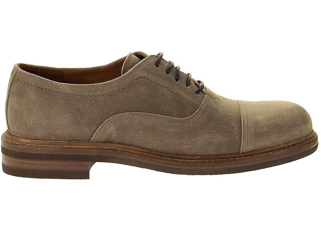 Brunello Cucinelli Suede Oxford Shoes In Grey MZUPLHX862C8080 Grey imagine b-mall.ro