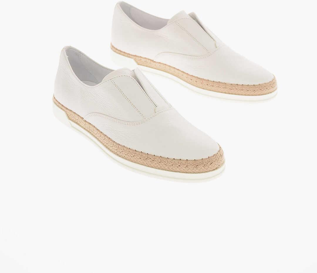 TOD'S leather FRANCESINA Slip on sneakers WHITE imagine b-mall.ro