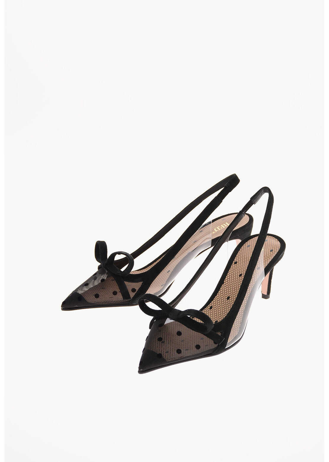 RED VALENTINO 6cm Polka Dots Slingback pumps with Bow BLACK imagine b-mall.ro