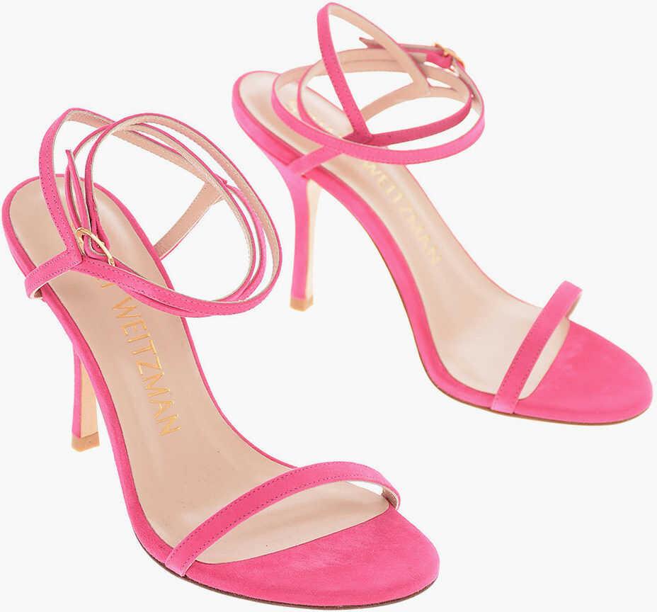 Stuart Weitzman 10 cm leather MERINDA Ankle-strap sandals PINK imagine b-mall.ro