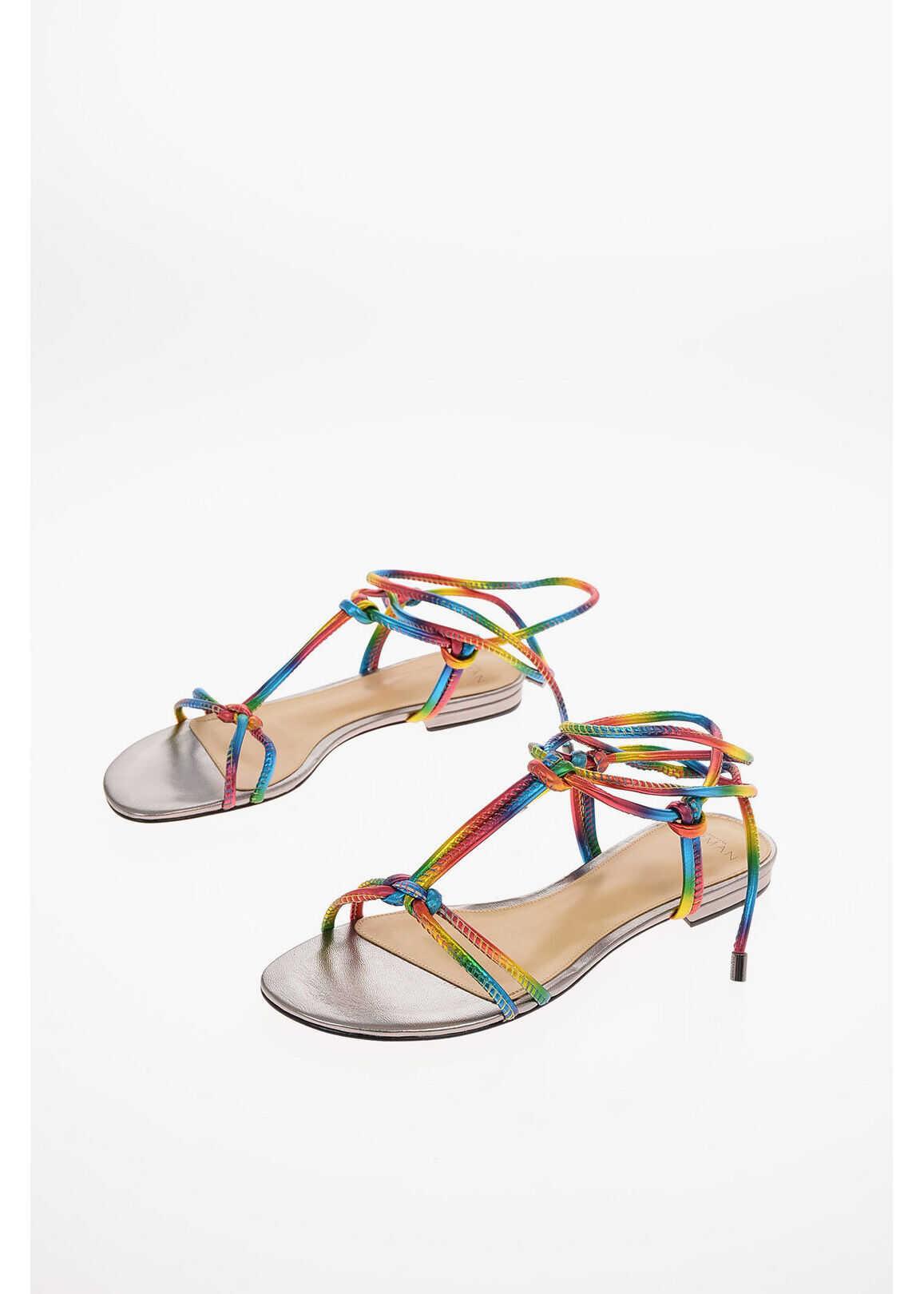 Alexandre Birman leather Lace Up REBECCA T-strap sandals MULTICOLOR imagine b-mall.ro