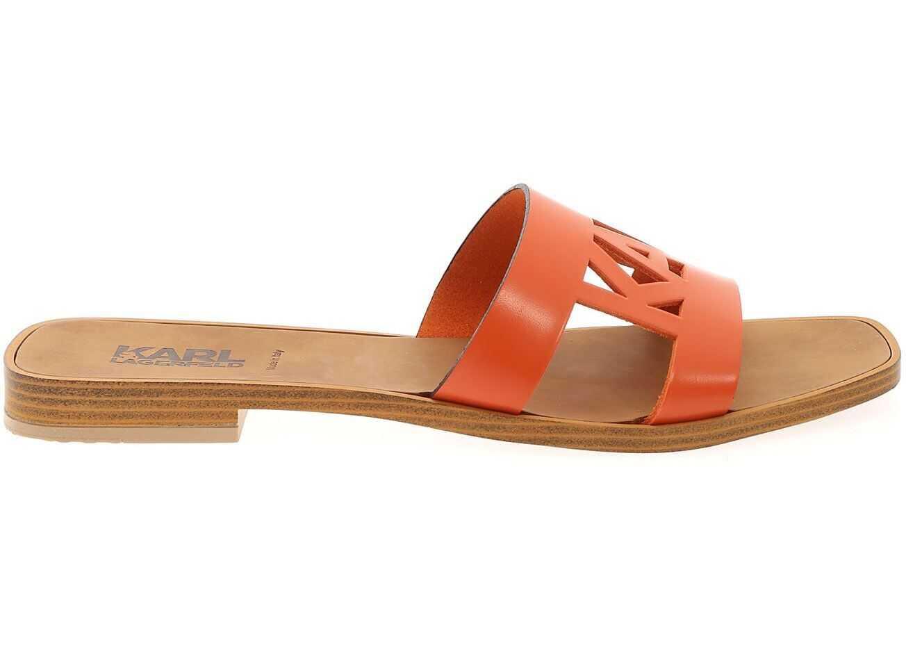 Karl Lagerfeld Cut-Out Mules In Orange KL8040502C Orange imagine b-mall.ro