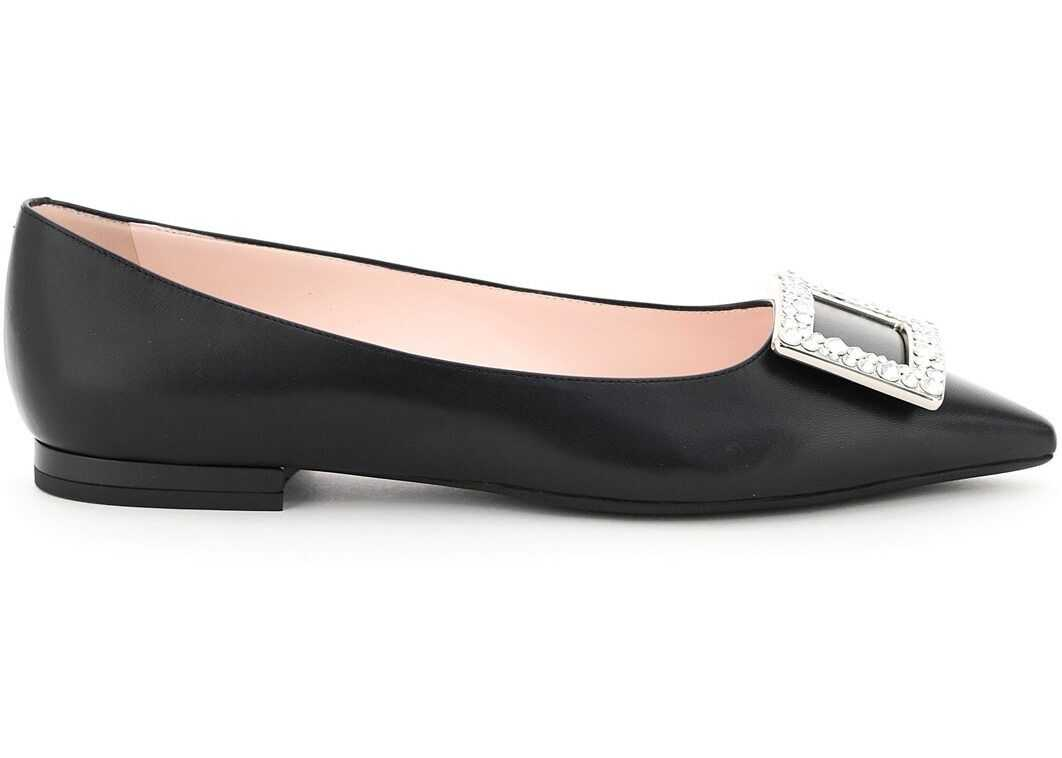 Roger Vivier Gommettine Ballet Flats 05 Crystal Buckle RVW57531030NK0 NERO imagine b-mall.ro
