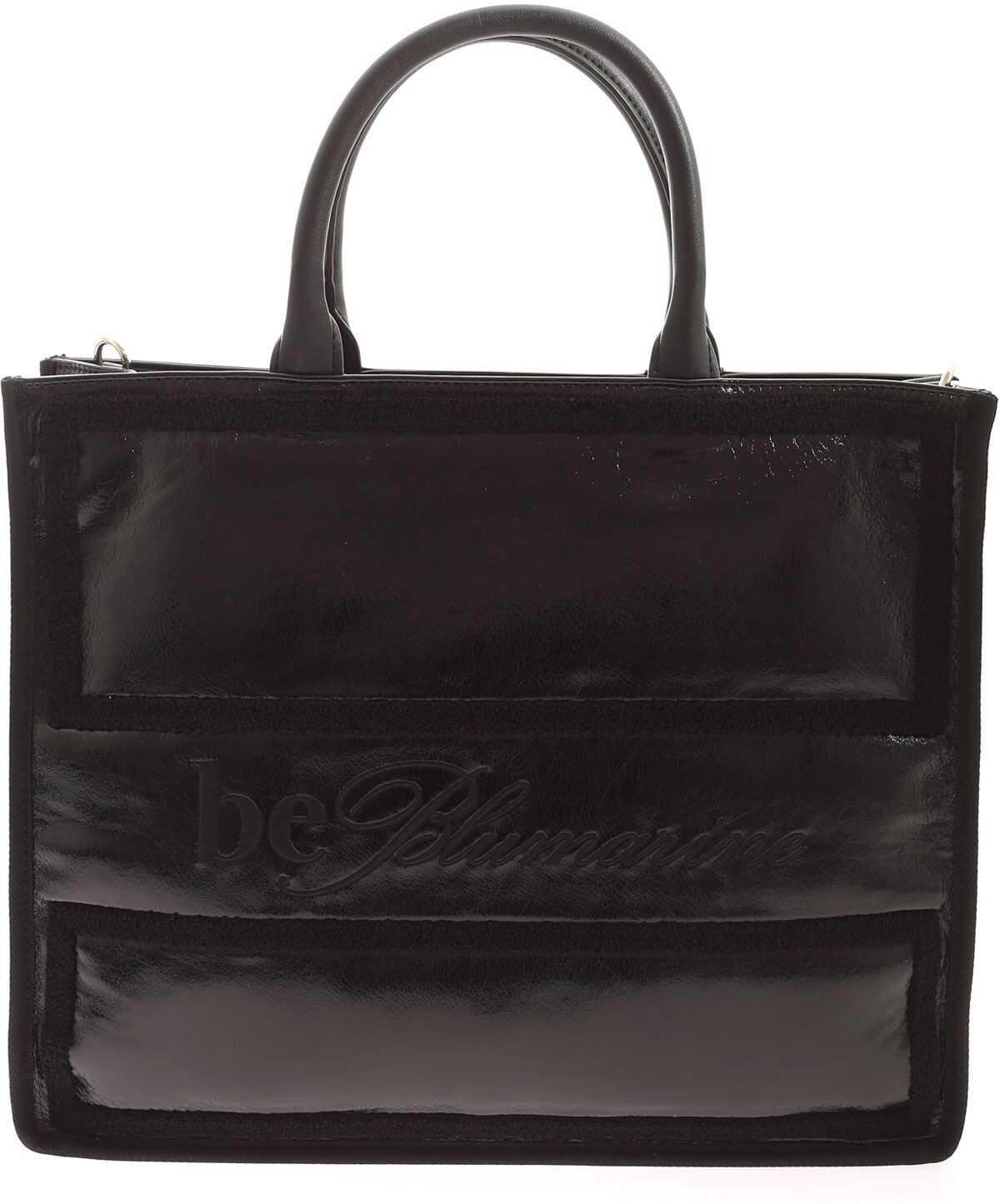 Be Blumarine Tone-On-Tone Details Shopper Bag In Black E17ZBBN1 71704 MI8 Black imagine b-mall.ro