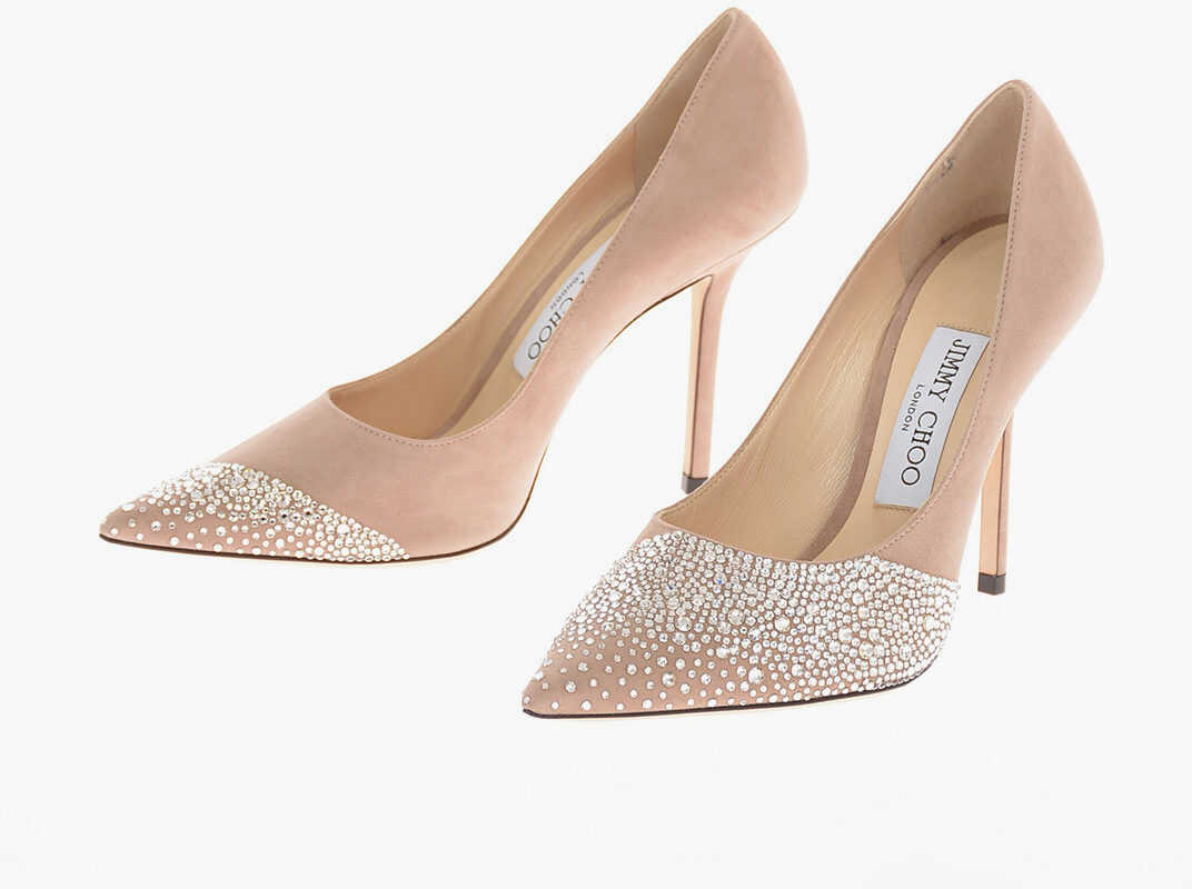 Jimmy Choo Suede LOVE 100 Pumps with Jewel Detail 11 Cm PINK imagine b-mall.ro