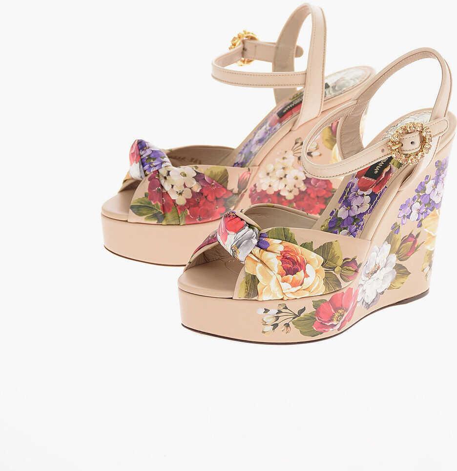 Dolce & Gabbana Floral Leather BIANCA Sandals with Platform Sole 12 Cm BEIGE imagine b-mall.ro
