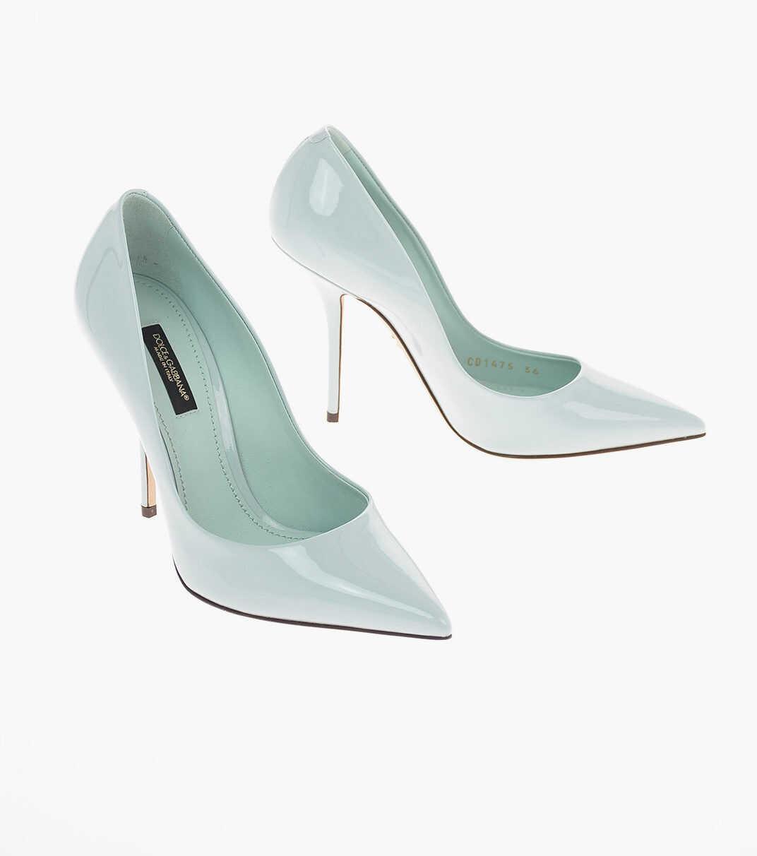 Dolce & Gabbana Patent leather CARDINALE Pumps with Stiletto Heel 11 Cm LIGHT BLUE imagine b-mall.ro