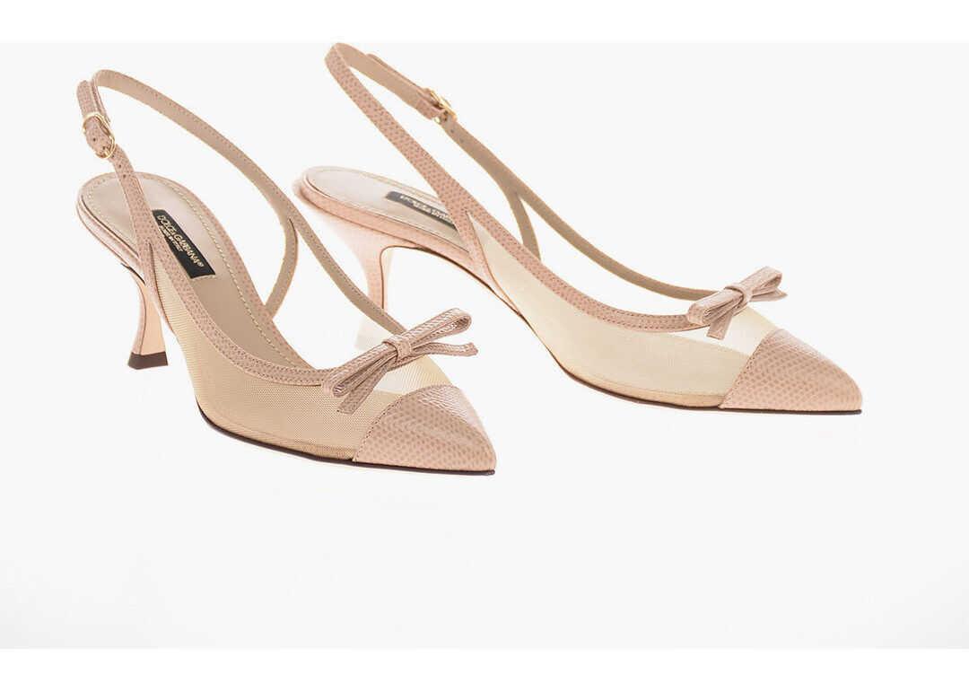 Dolce & Gabbana Soft Leather LORI Slingback Pumps with Kitten Heel 7 Cm BEIGE imagine b-mall.ro