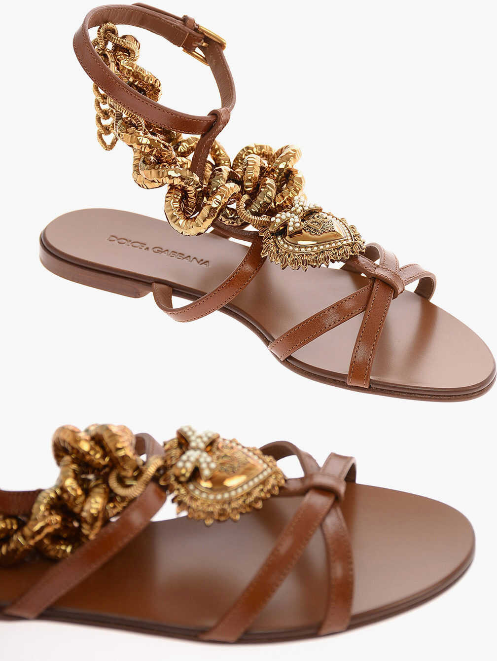 Dolce & Gabbana Leather DEVOTION Sandals with Chain BROWN imagine b-mall.ro