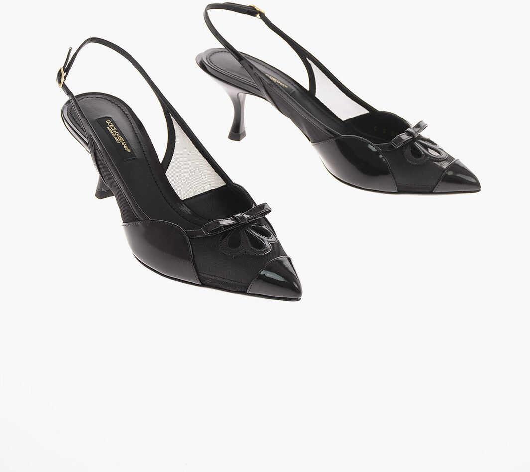 Dolce & Gabbana Coated Leather LORI Slingbacks with Kitten Heel 7 Cm BLACK imagine b-mall.ro