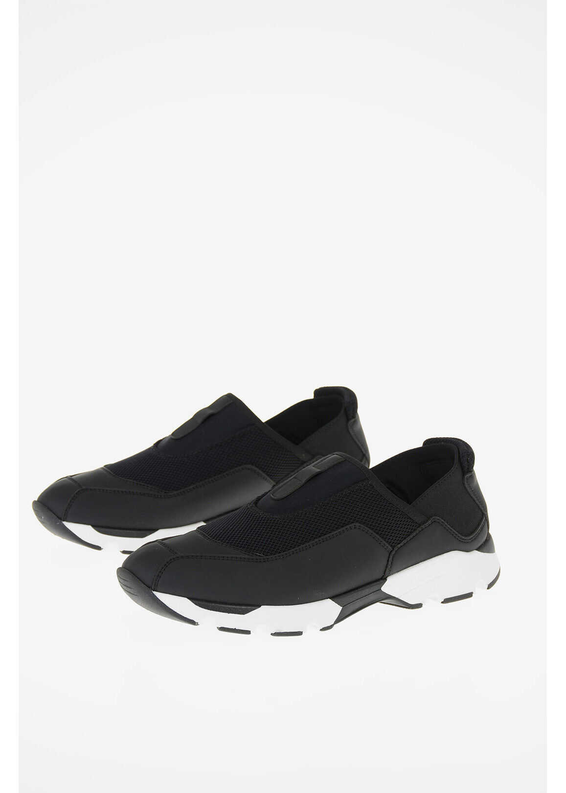 Marni Stretch Fabbric Slip On Sneakers with Eco Leather Details BLACK imagine b-mall.ro