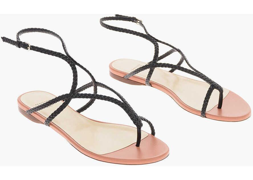 Francesco Russo Braided Leather Thong Sandals BLACK imagine b-mall.ro