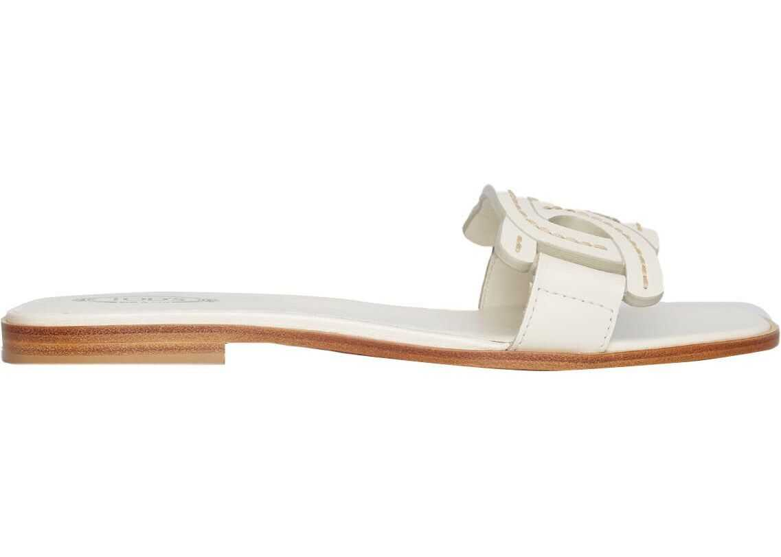 TOD'S Sandals in leather White imagine b-mall.ro