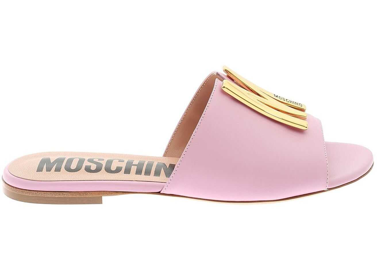 Moschino Metal Logo Mules In Pink MA28101C0CMF0600 Pink imagine b-mall.ro