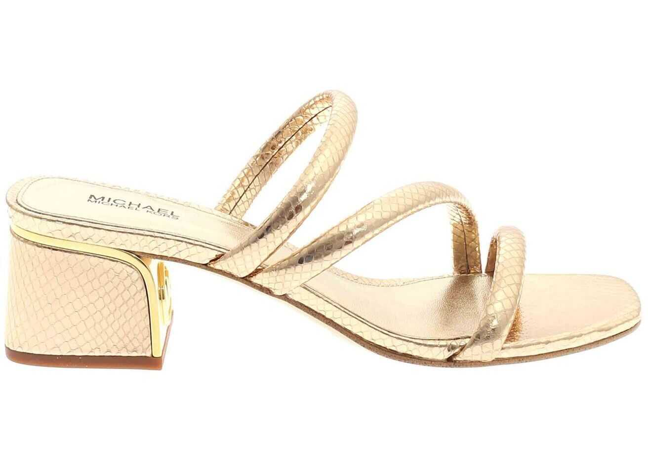 Michael Kors Mules In Gold Color 40S1LAMP2MPALEGOLD Gold imagine b-mall.ro