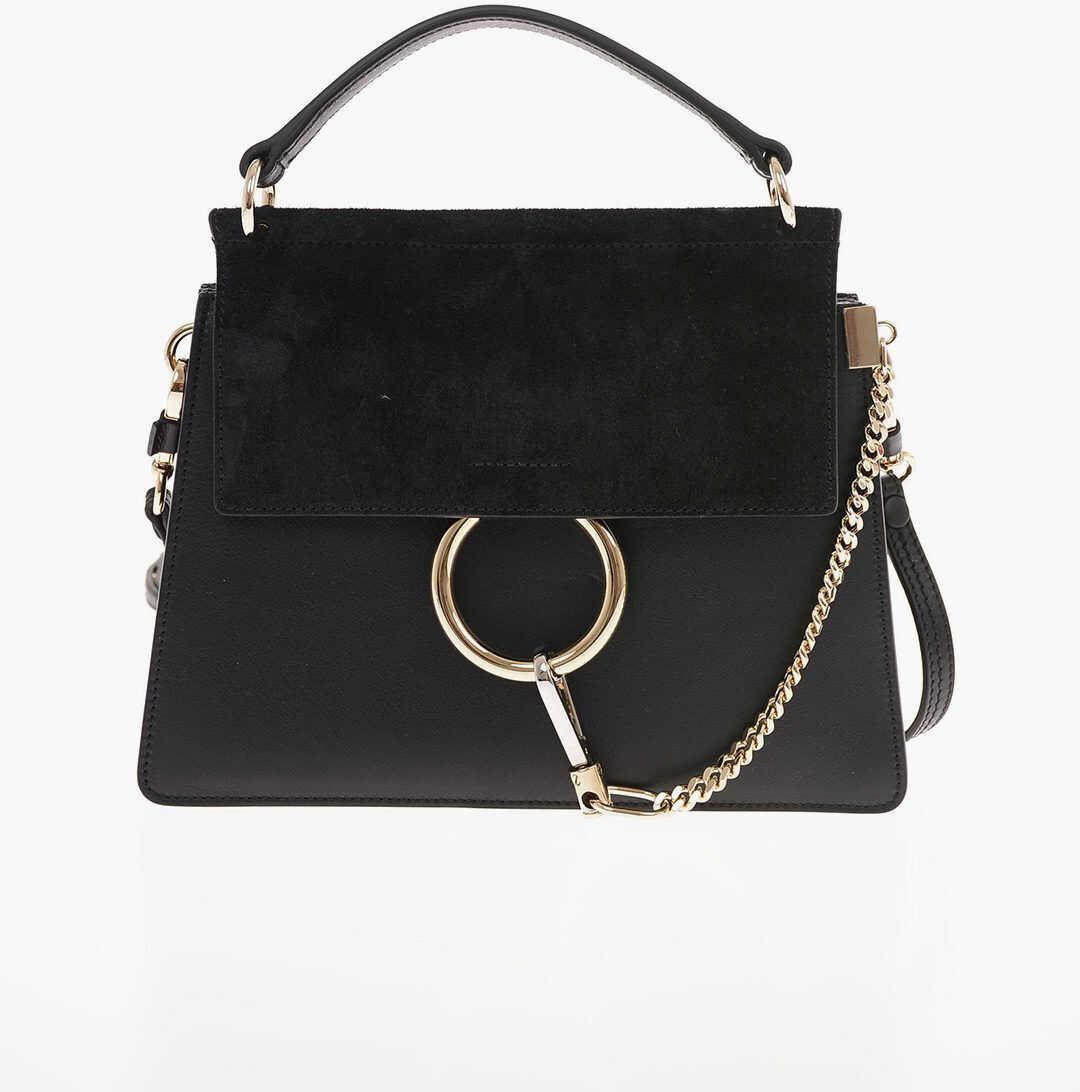 Chloe leather Mini Bag FAYE with Removable Shoulder Strap BLACK imagine b-mall.ro