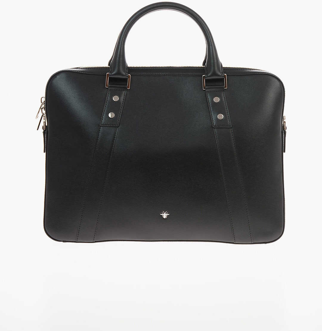Dior HOMME leather Briefcase with Double Handle BLACK imagine b-mall.ro