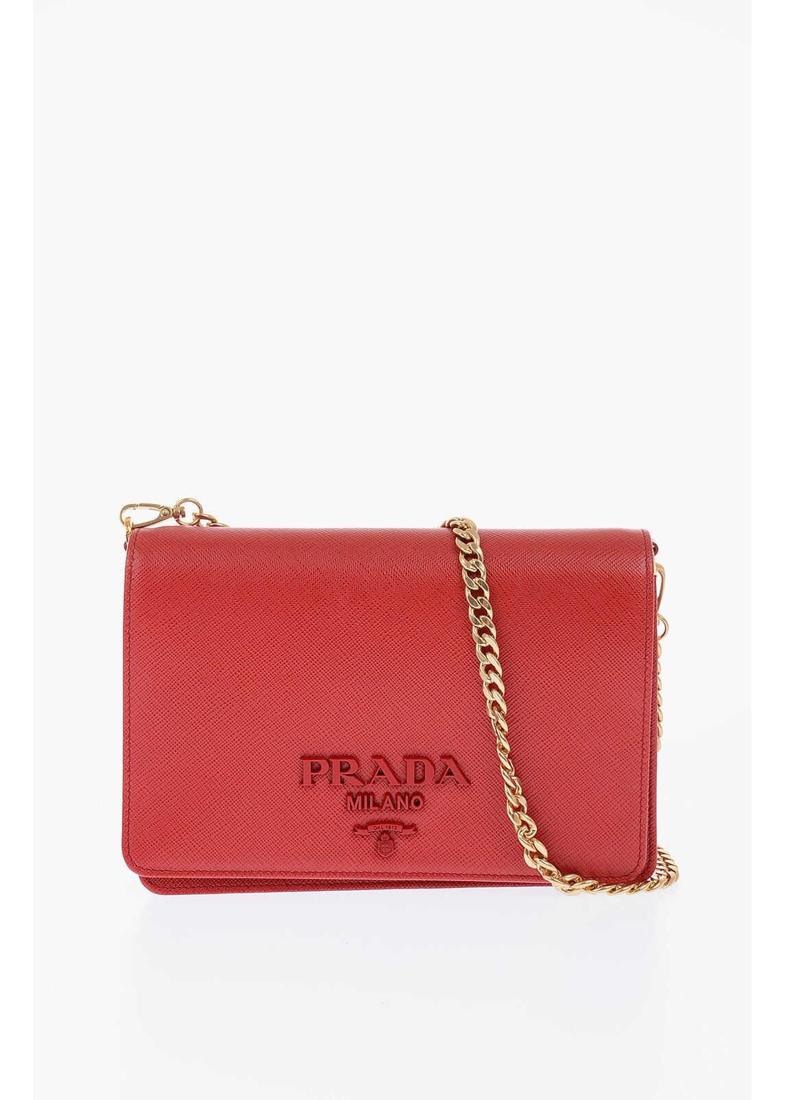 Prada Saffiano Leather Mini Bag with Removable Chain RED imagine b-mall.ro