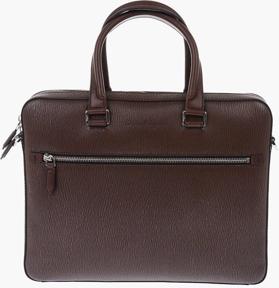 Salvatore Ferragamo Leather Briefcase with Removable Shoulder Strap BROWN imagine b-mall.ro