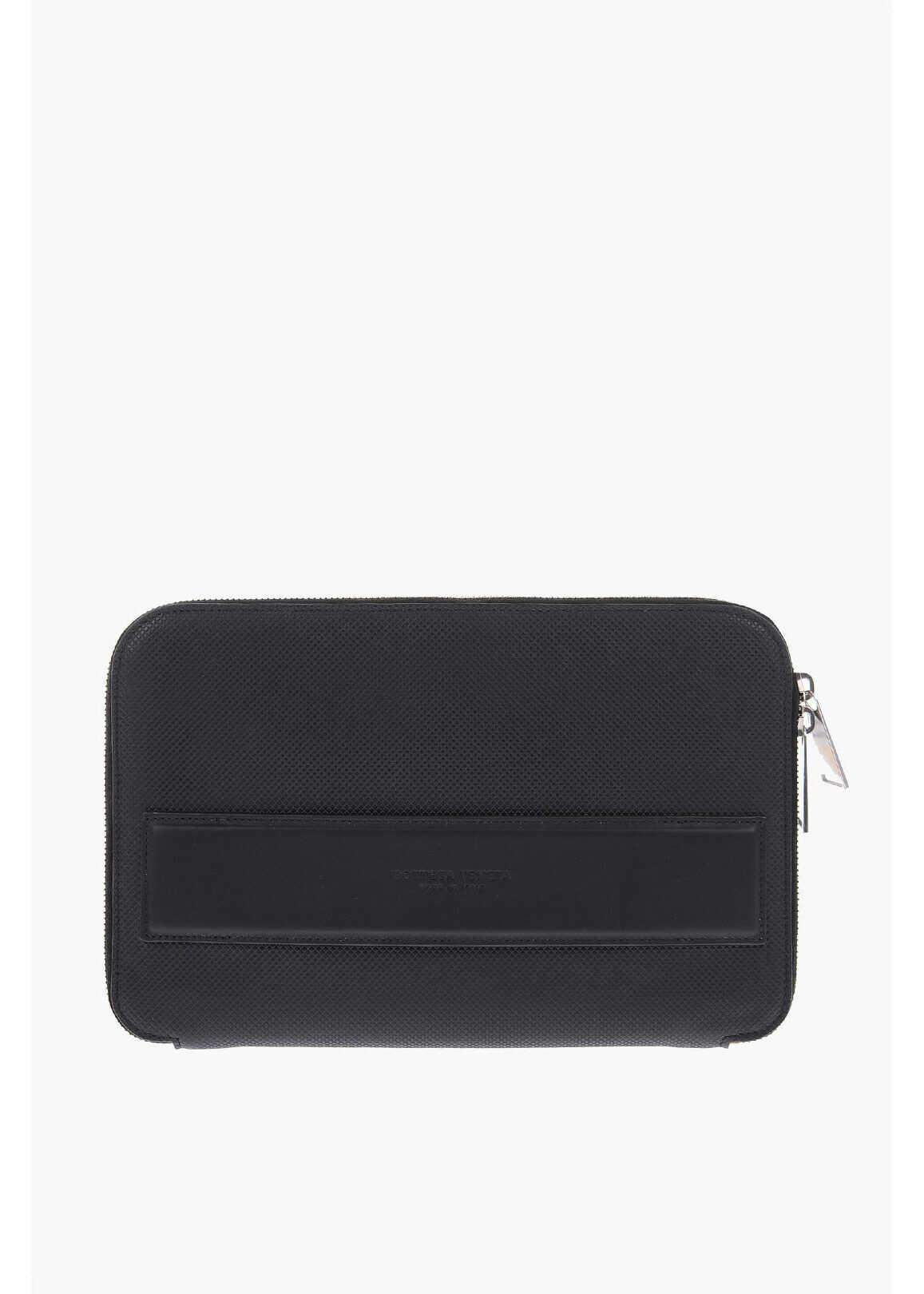 Bottega Veneta Leather MARCO POLO Briefcase BLACK imagine b-mall.ro