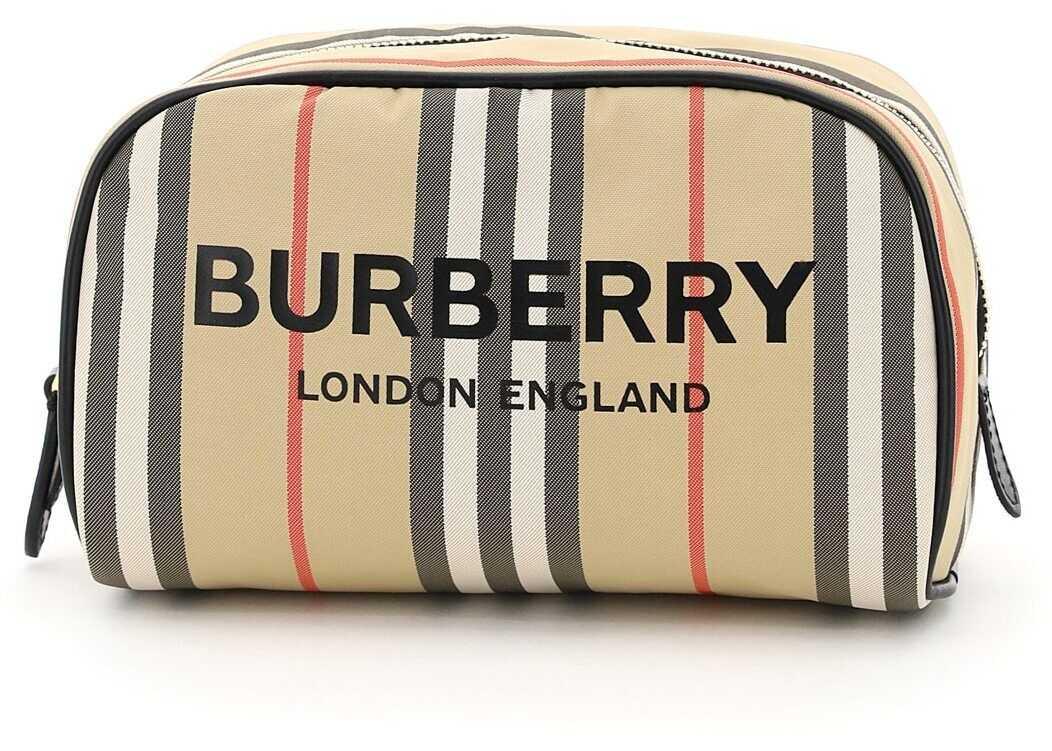 Burberry Icon Stripe Cosmetic Pouch 8038793 ARCHIVE BEIGE imagine b-mall.ro