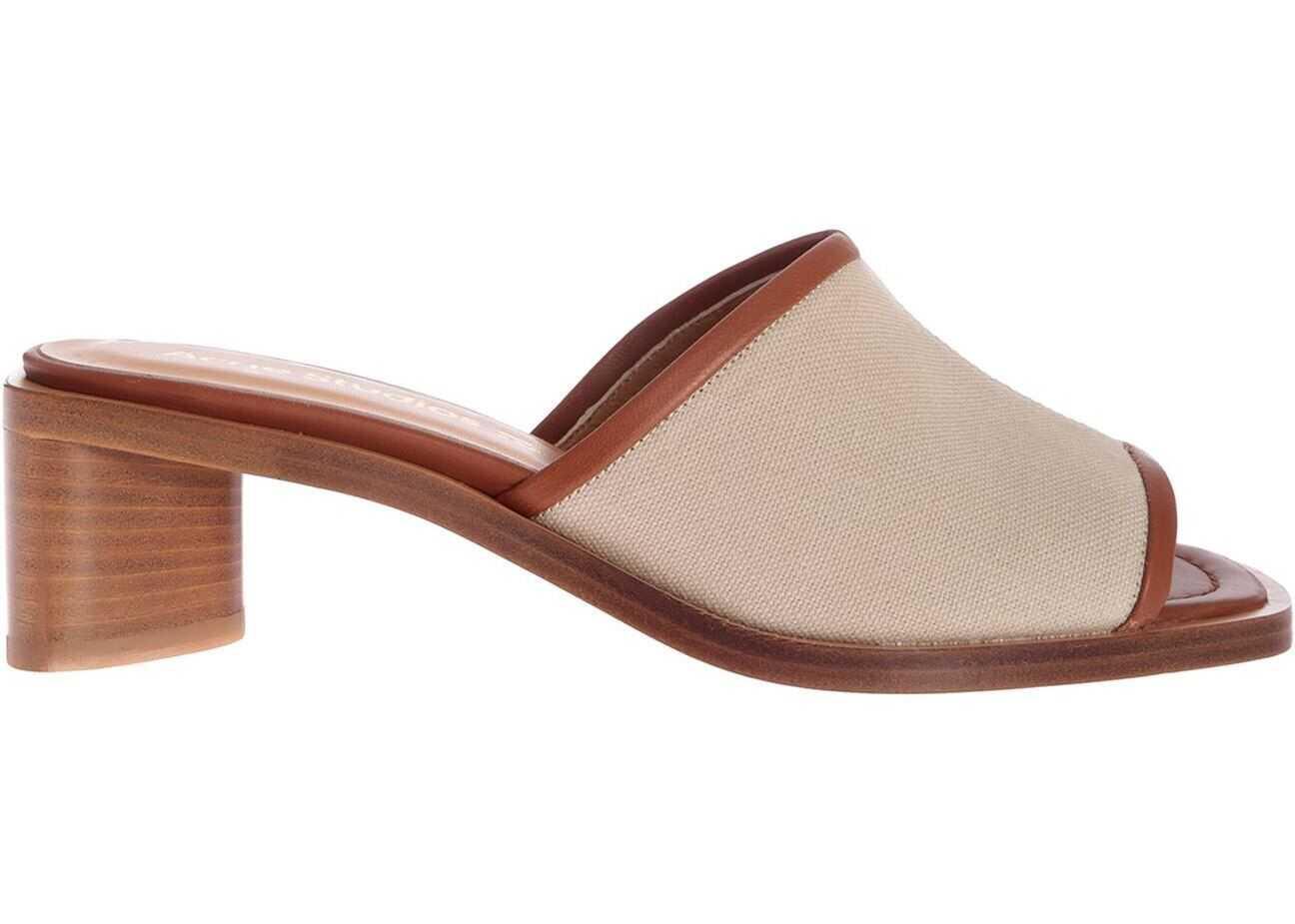 Acne Studios Slip-On Sandals In Ecru And Beige AD0360 ECRU BEIGE Beige imagine b-mall.ro