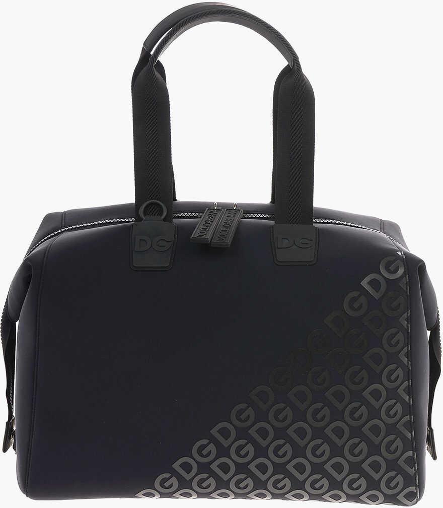 Dolce & Gabbana Neoprene DG MANIA Weekend Bag BLACK imagine b-mall.ro