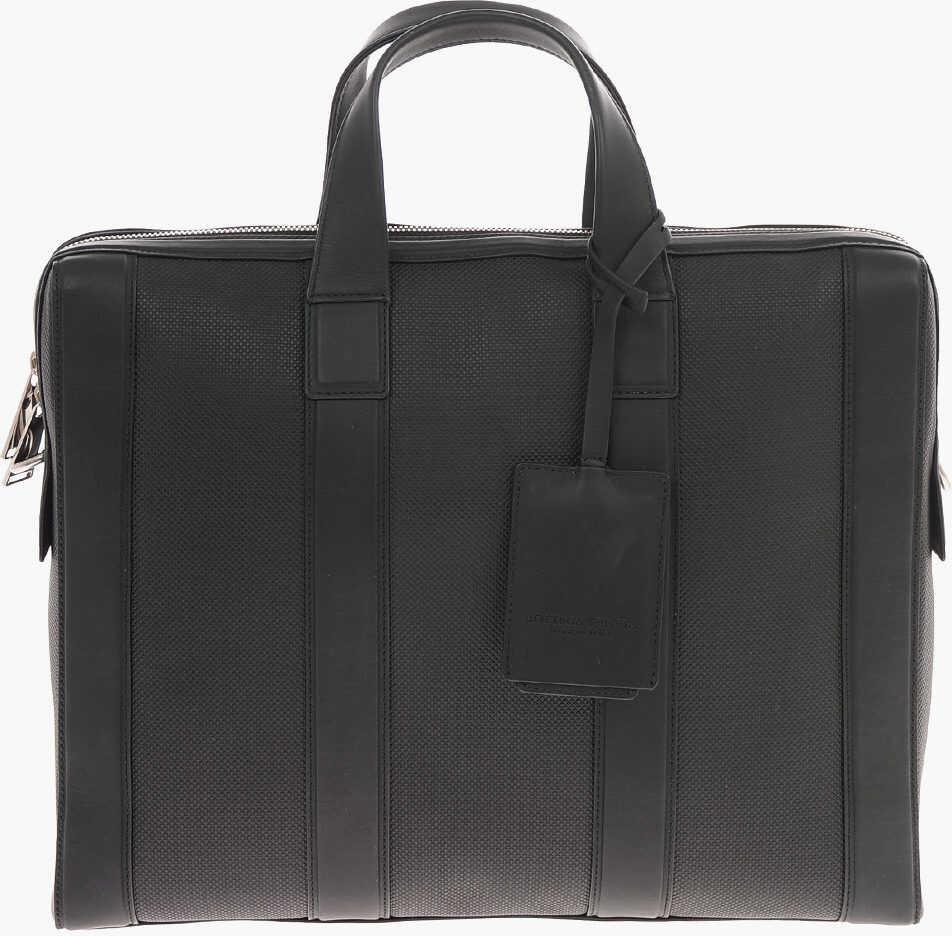 Bottega Veneta leather MARCO POLO Briefcase with Removable Shoulder Strap BLACK imagine b-mall.ro
