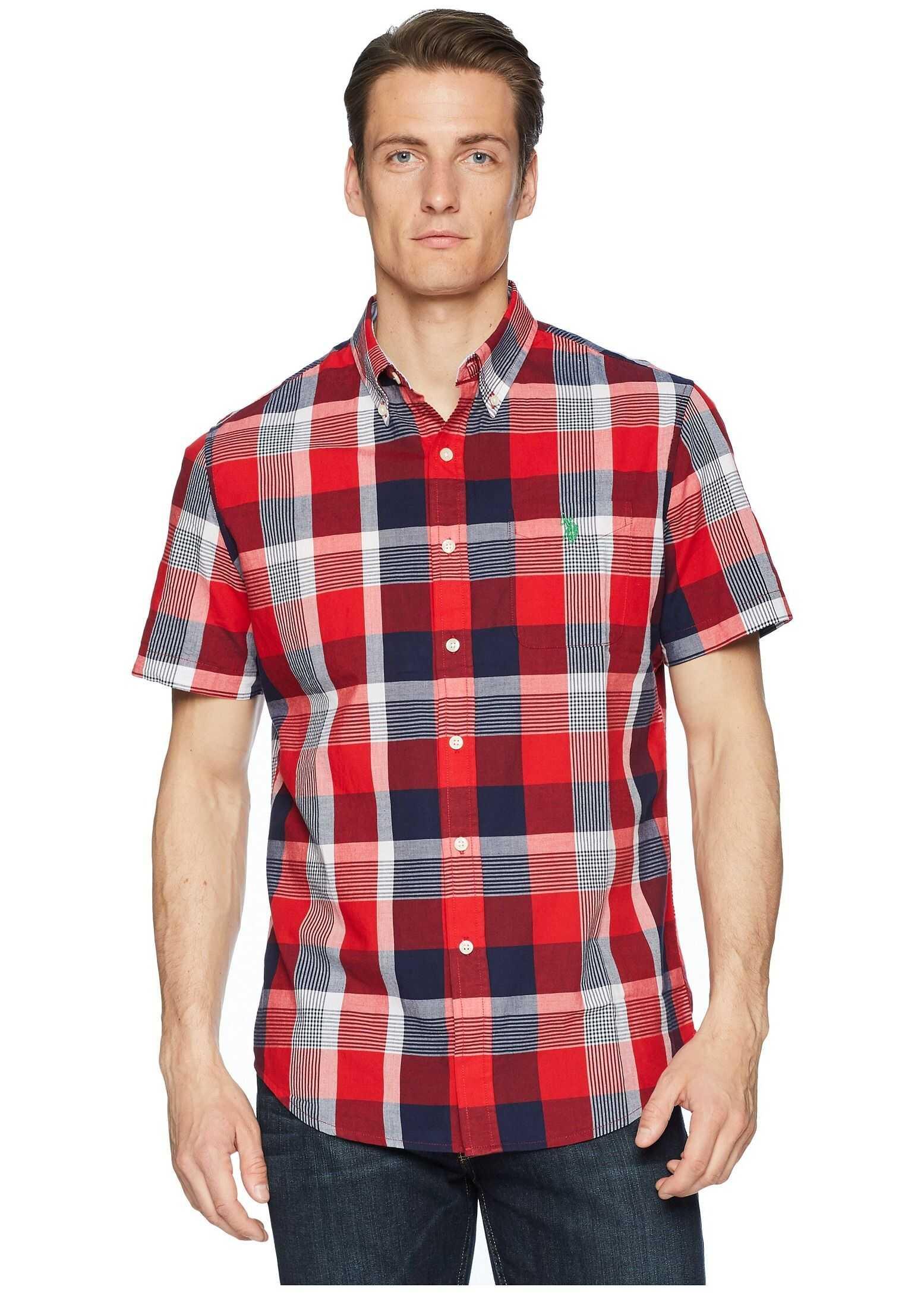 U.S. POLO ASSN. Plaid Woven Shirt Winning Red
