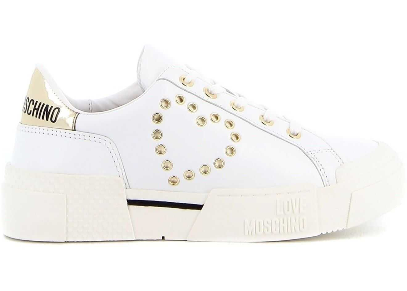 LOVE Moschino Eyelet Detailed Sneakers In White JA15425G0CJAS100 White imagine b-mall.ro