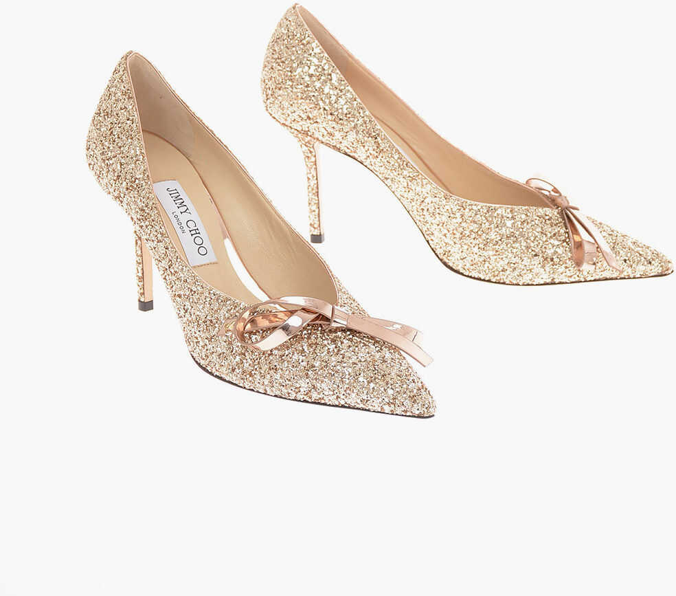 Jimmy Choo Jewel SCARLETTE 85 Pumps with Bow Application 9.5 Cm GOLD imagine b-mall.ro