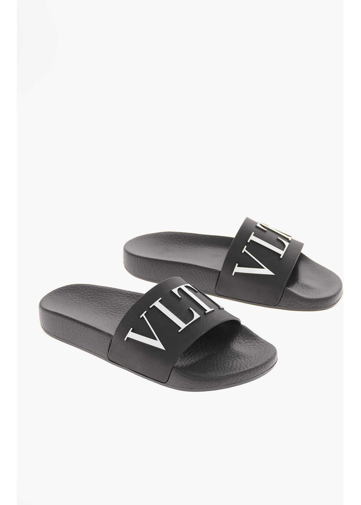 Valentino Garavani GARAVANI Monogram VLTN Slippers BLACK imagine b-mall.ro