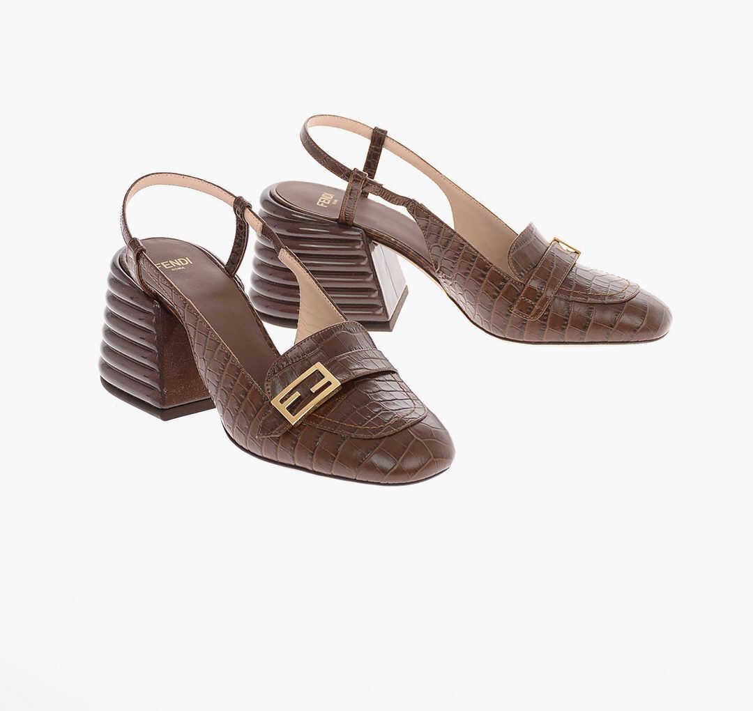 Fendi Croco Printed leather Slingbacks with Statement Heel 7 Cm BROWN imagine b-mall.ro