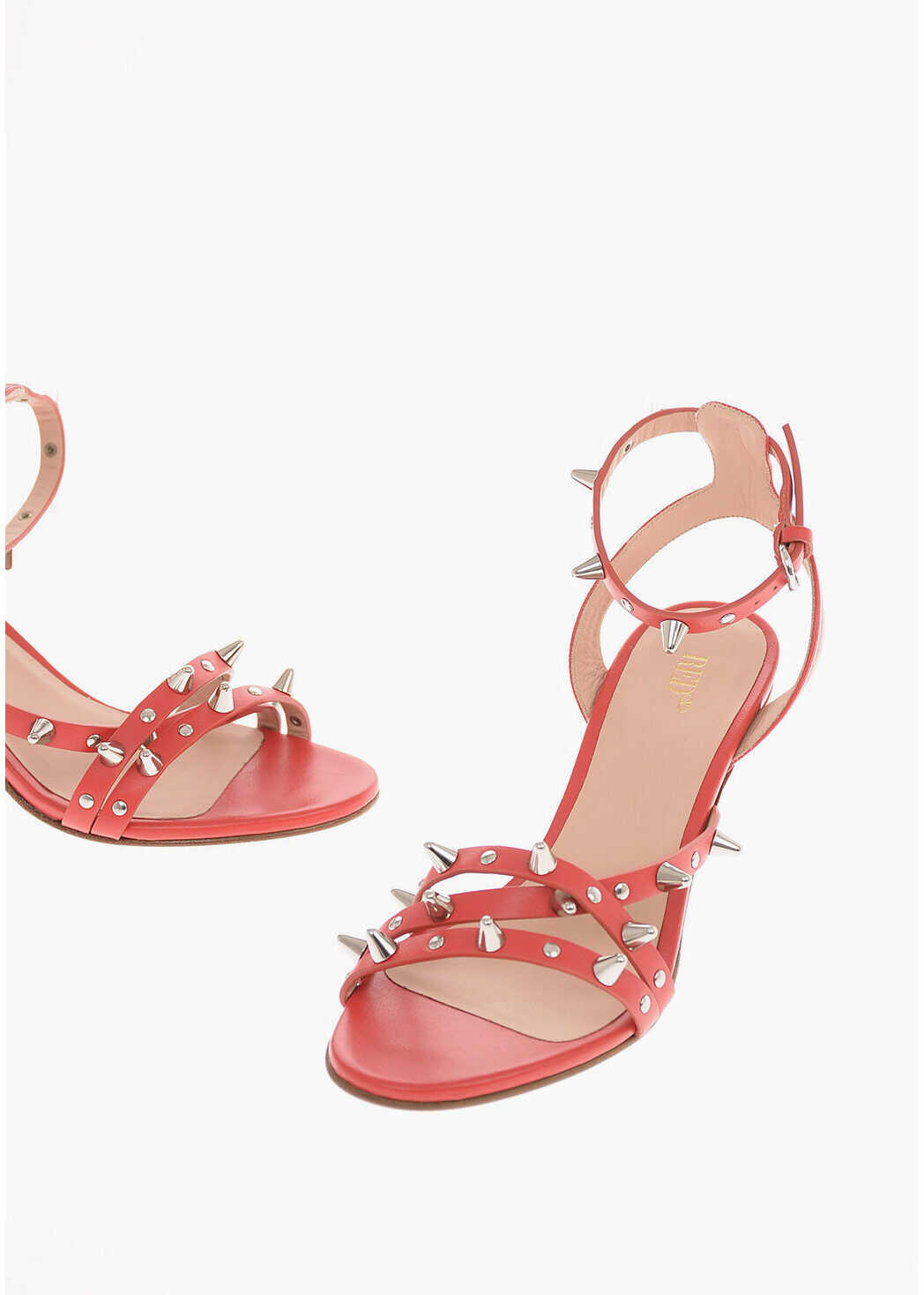 RED VALENTINO Leather Sandals with Studs 6.5 Cm RED imagine b-mall.ro