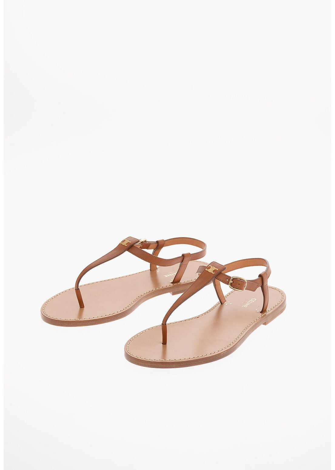 Céline Leather Thong Sandals BROWN imagine b-mall.ro