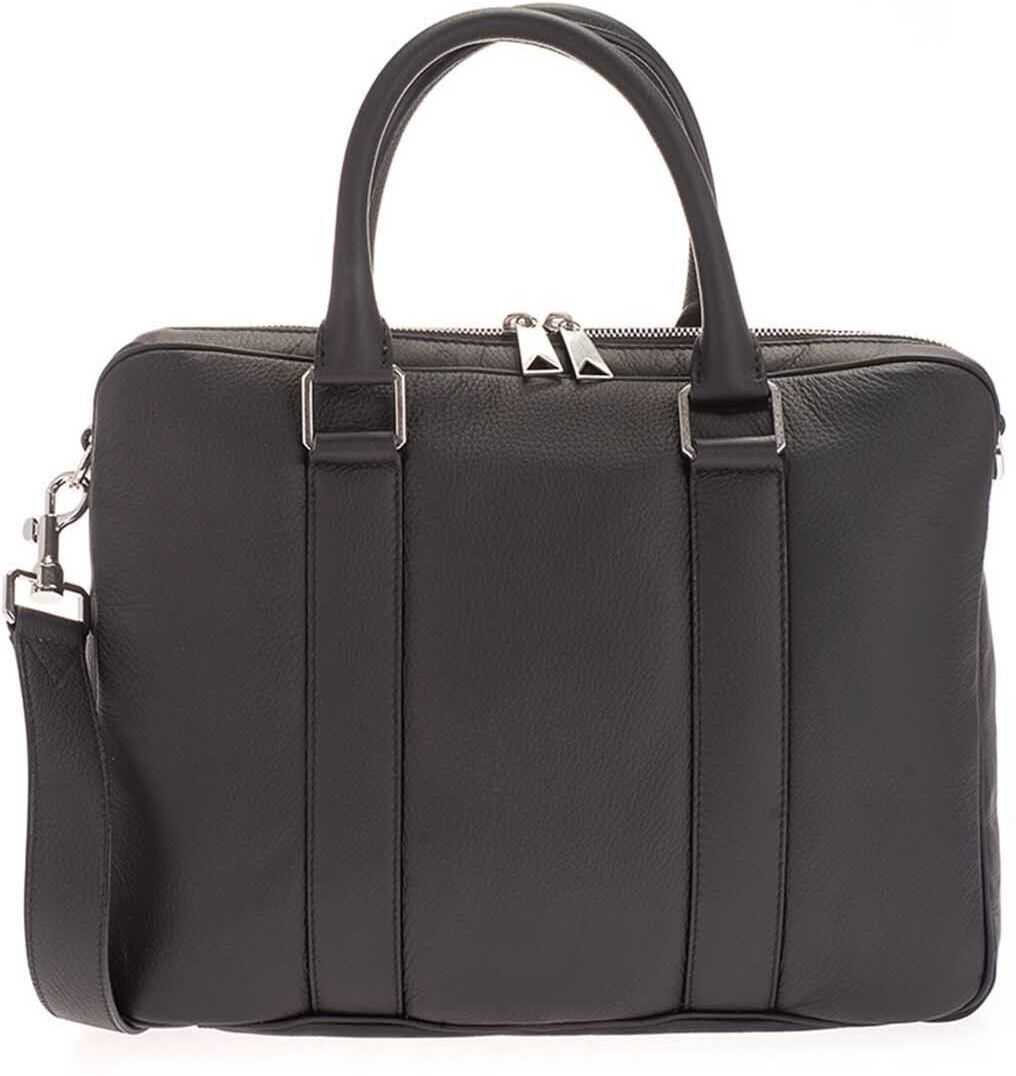 Bottega Veneta Double Handle Business Bag In Black 651581V0OZ08803 Black imagine b-mall.ro